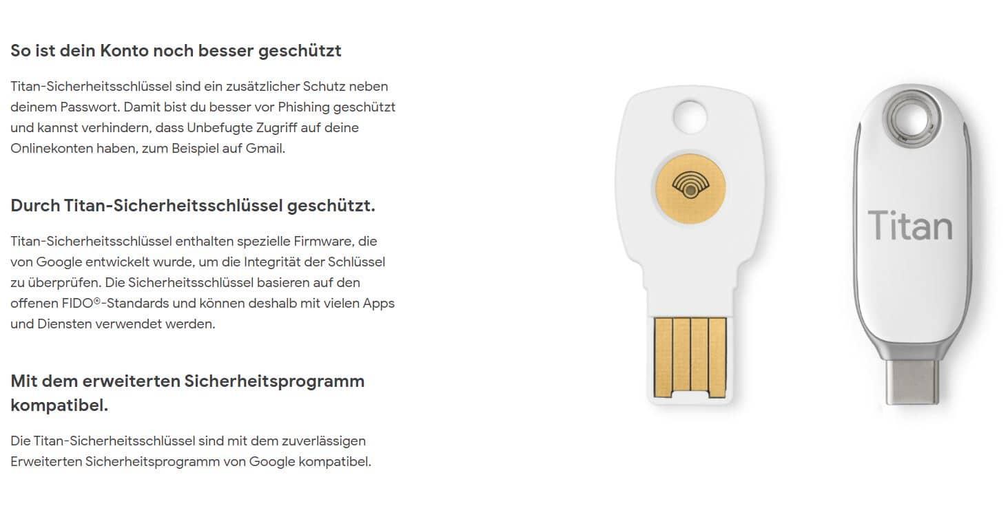 google titan security keys 2021 detail