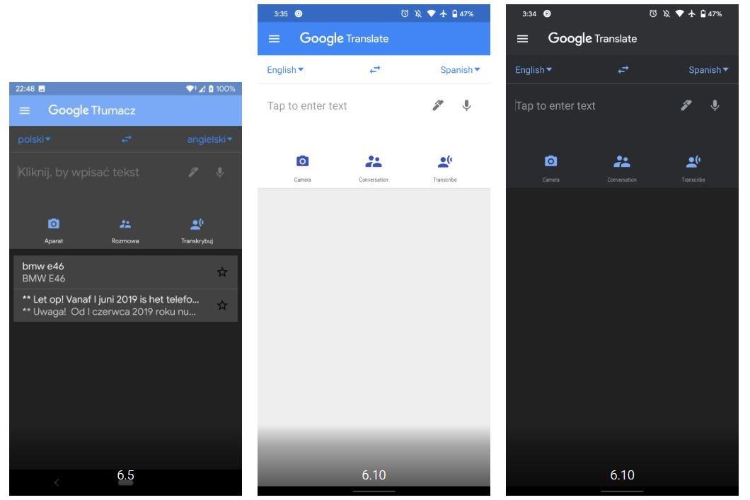 google translate dark mode
