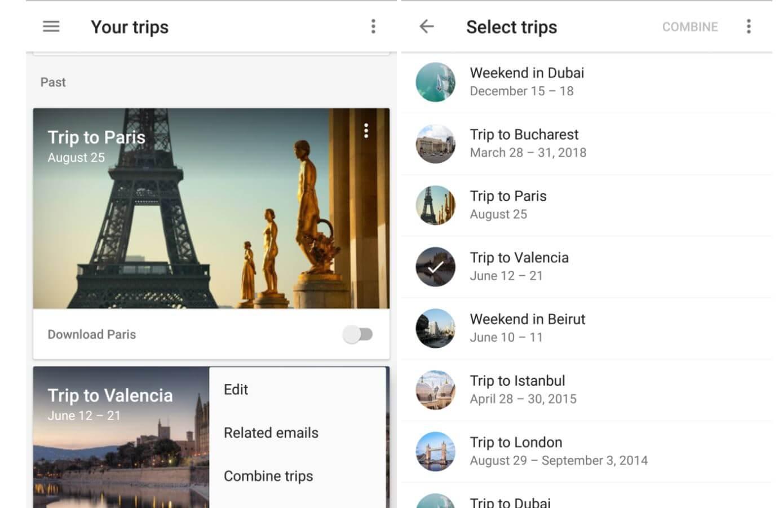 google trips combine