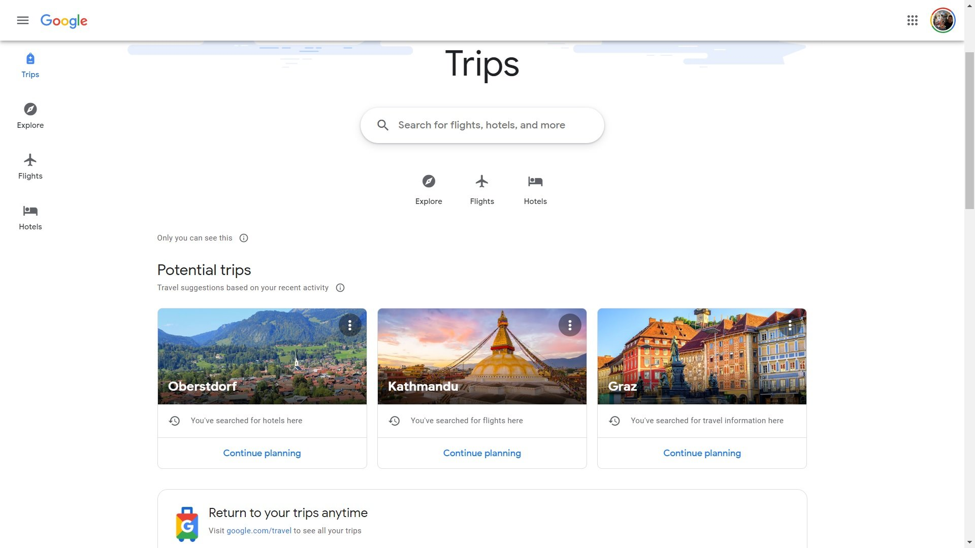 google trips pwa