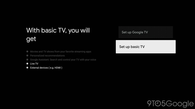 google tv basic mode