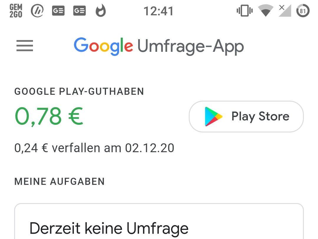 google umfrage app guthaben