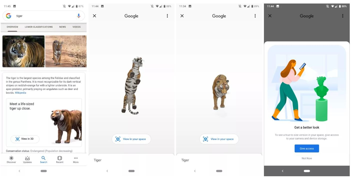 google websuche 3d ar