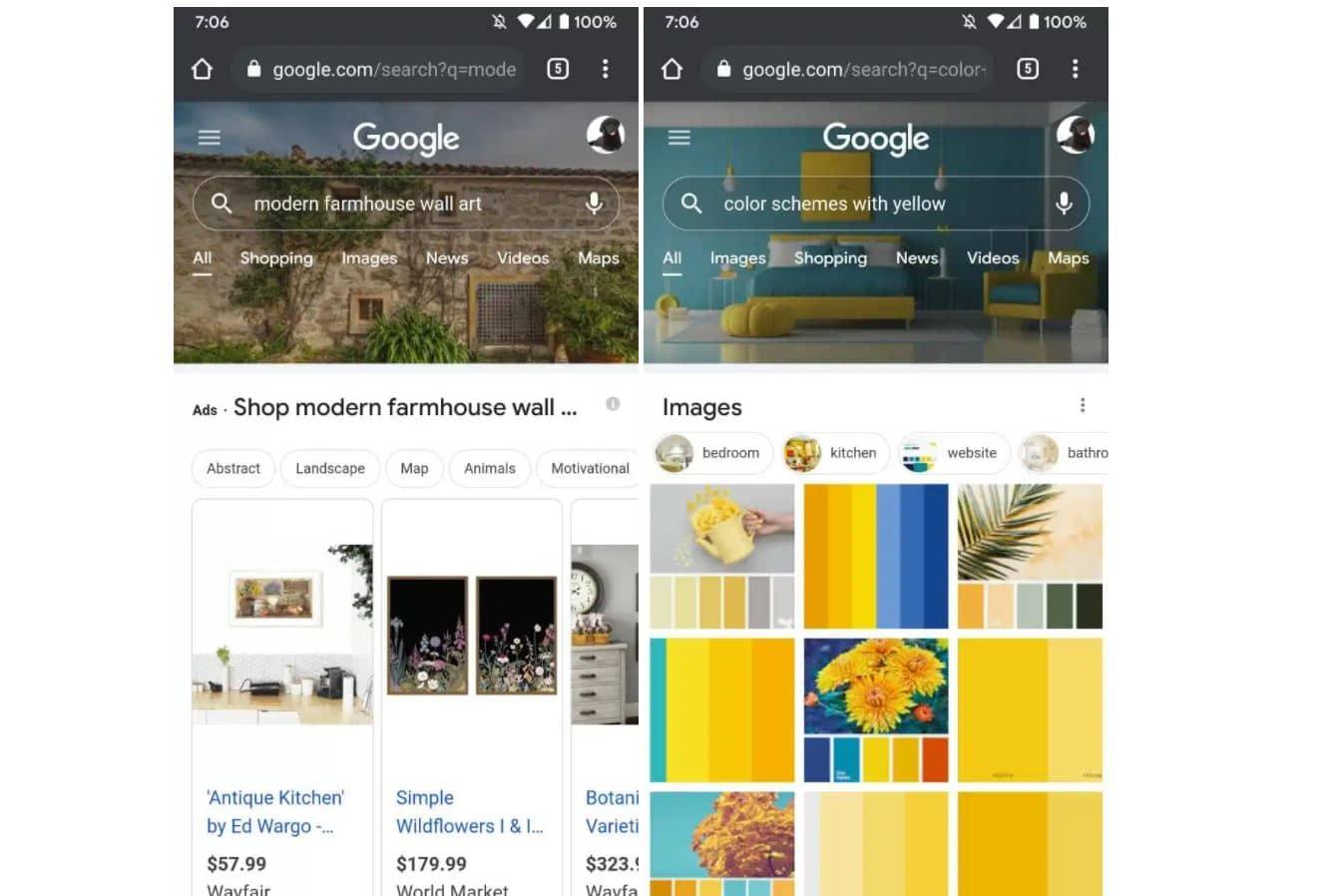 google websuche farbiger header