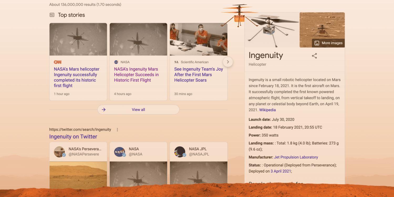 google websuche ingenuity easteregg
