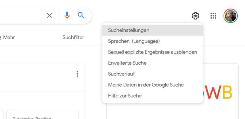 google websuche neues menü