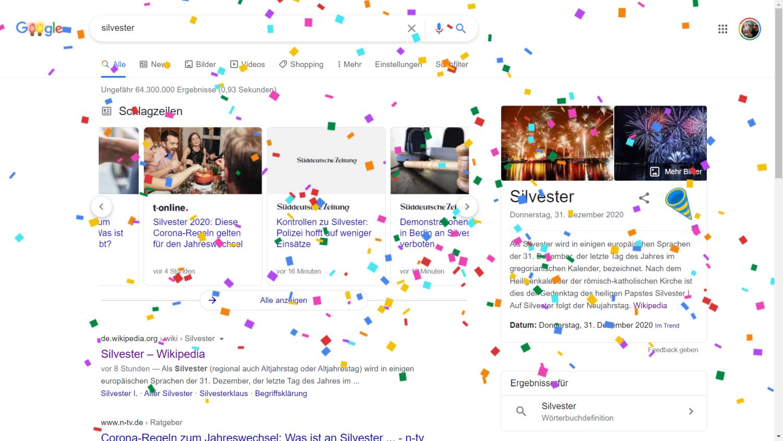 google websuche silvester konfetti