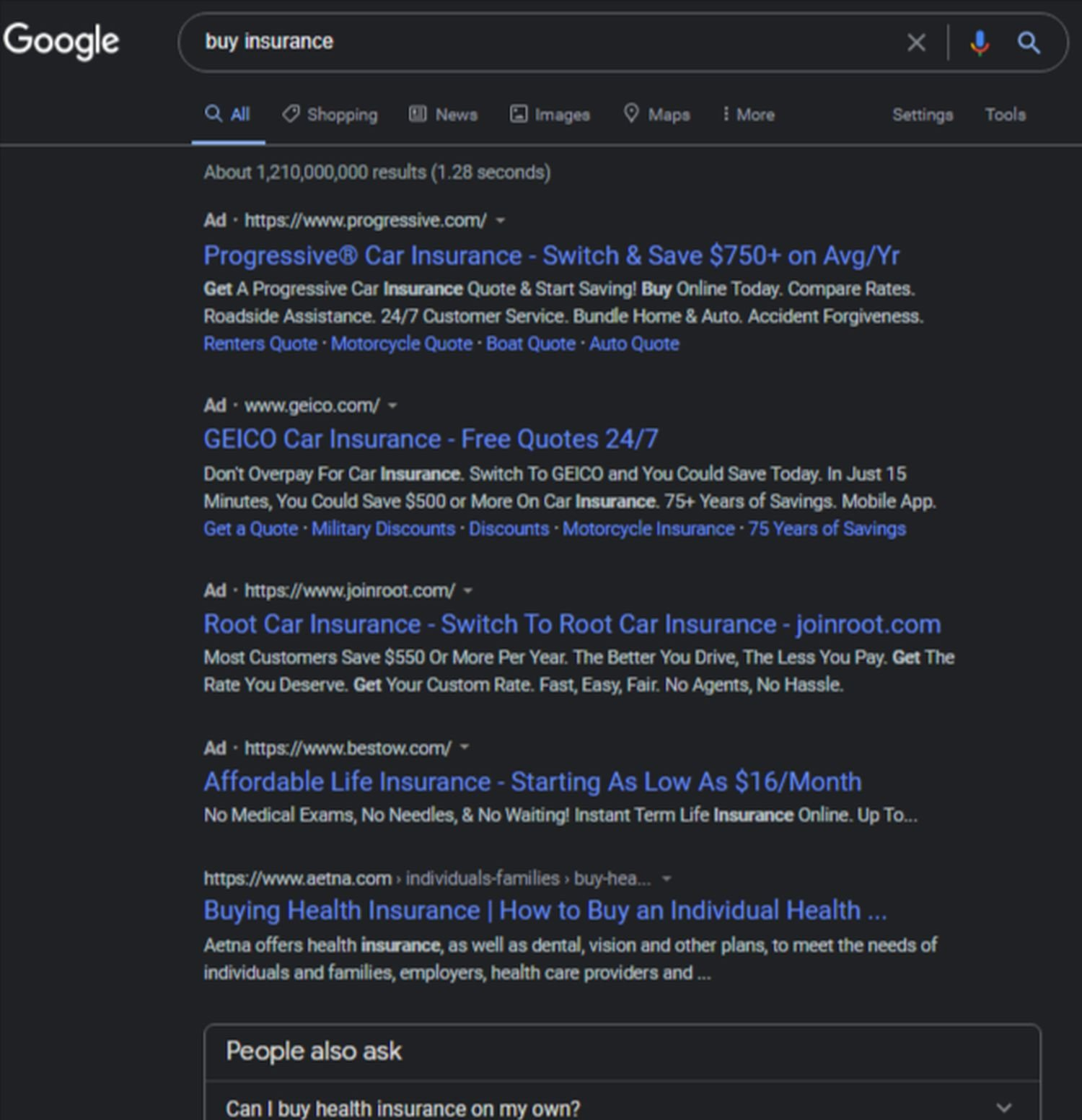 google websuche werbung screenshot