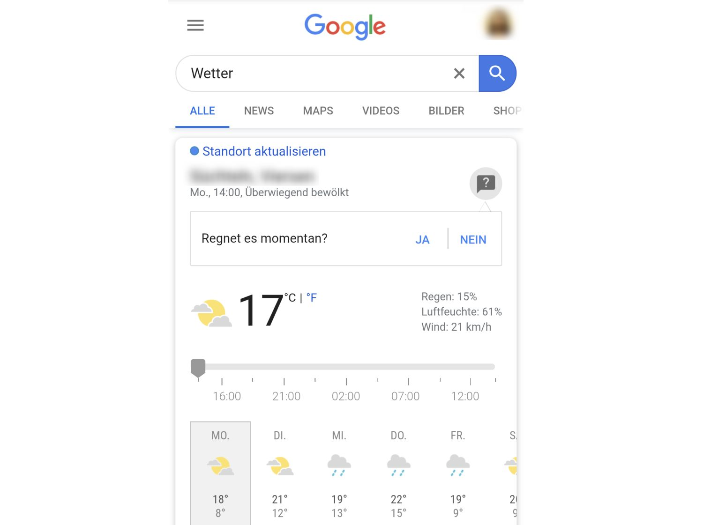 google wetter regenfrage