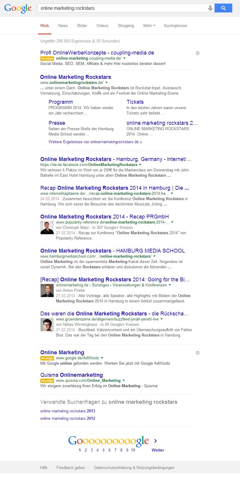 Google sieben Suchergebnisse