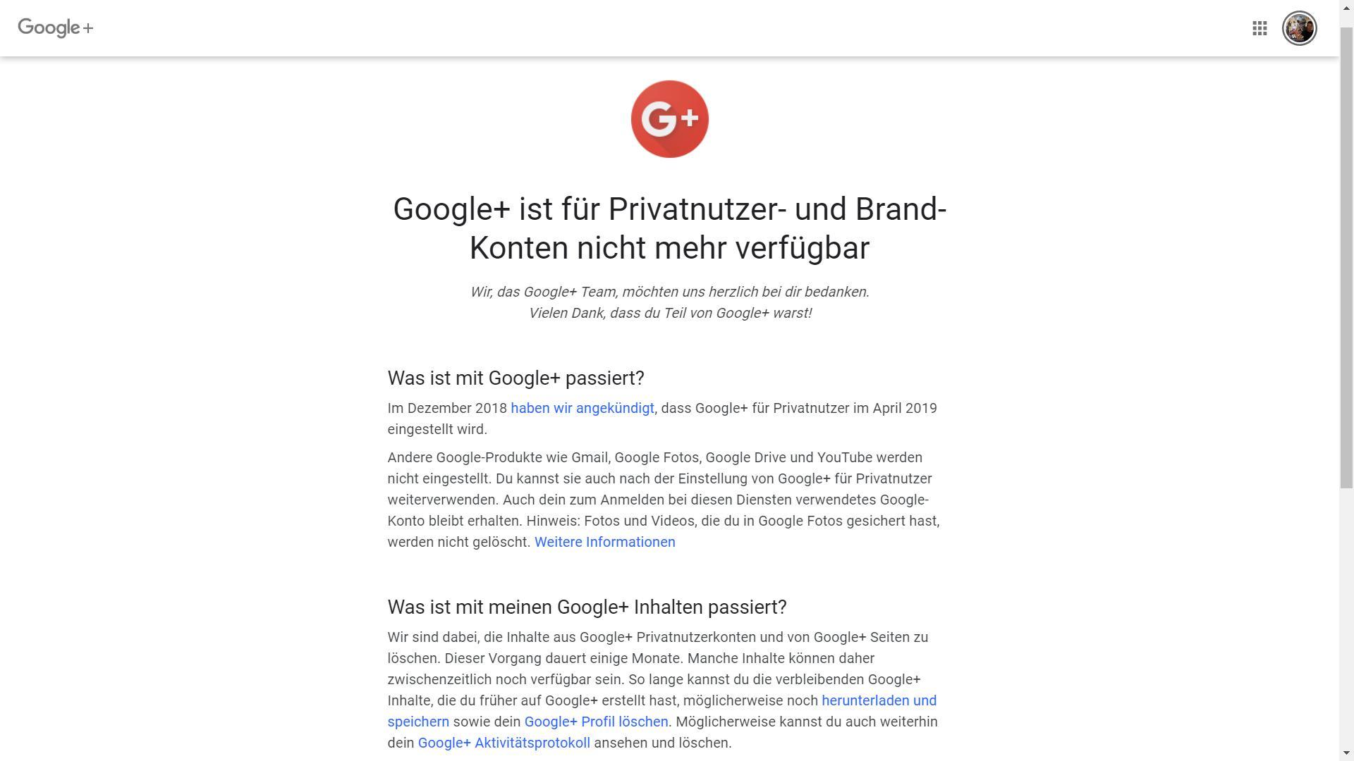 googleplus eingestellt