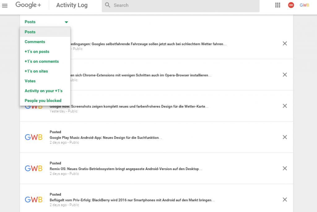 gplus activity log