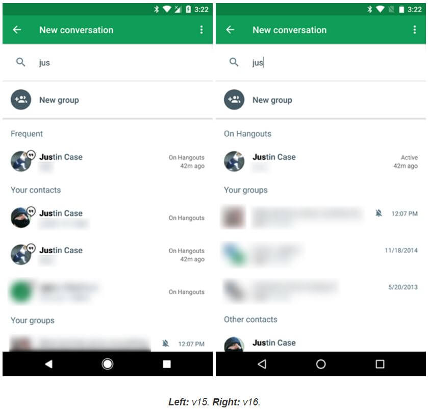 Google Hangouts Contact List