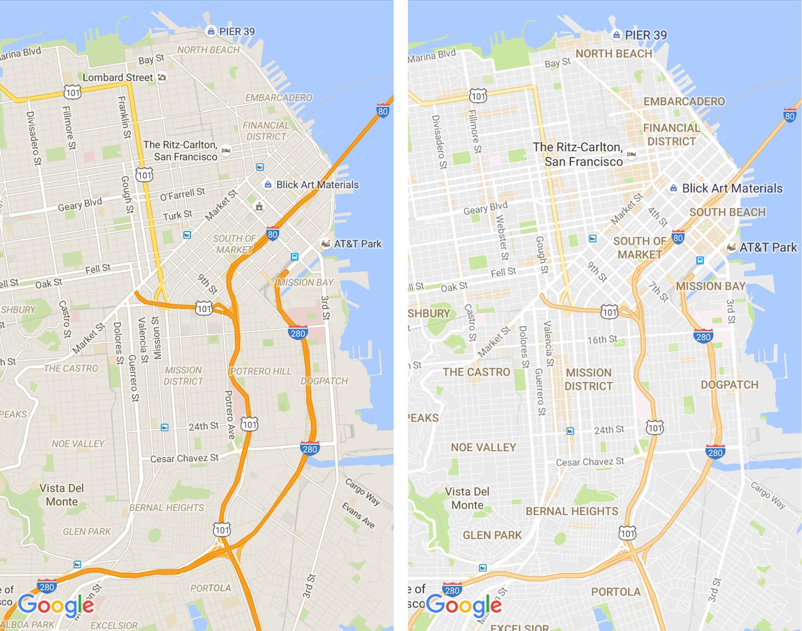 maps new vs old