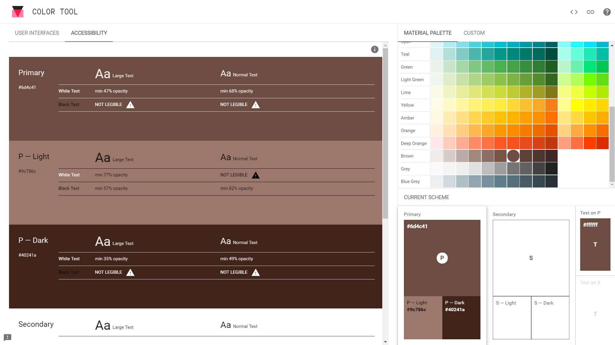 material design color tool access