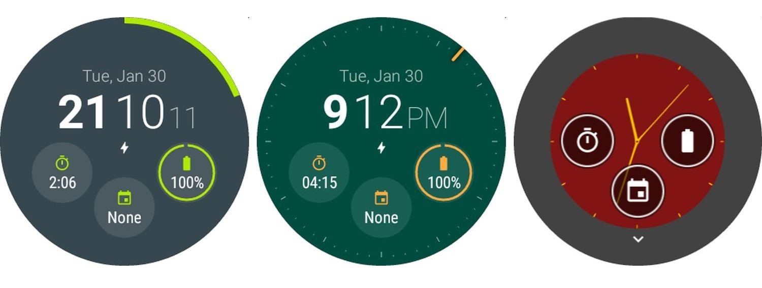 material style watch face screenshots