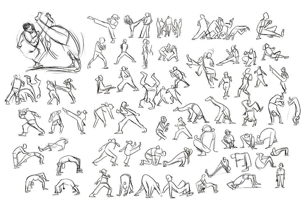 mestre bimba doodle entwürfe