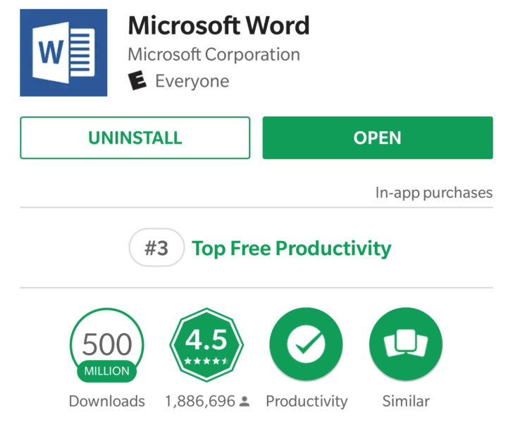 microsoft word 500 millionen
