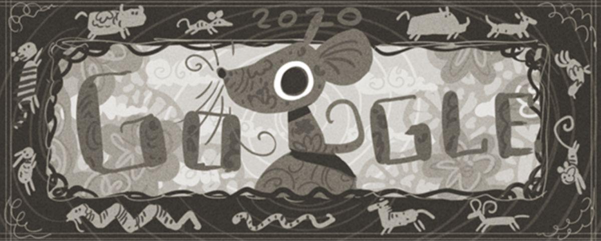 mond-neujahr doodle entwurf