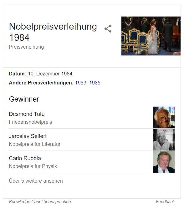 nobelpreisverleihung 1984