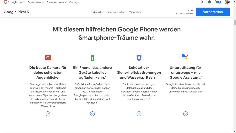 pixel 5 google store
