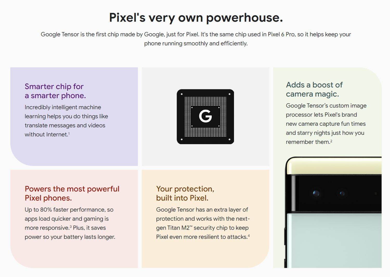 pixel 6 details tensor marketing