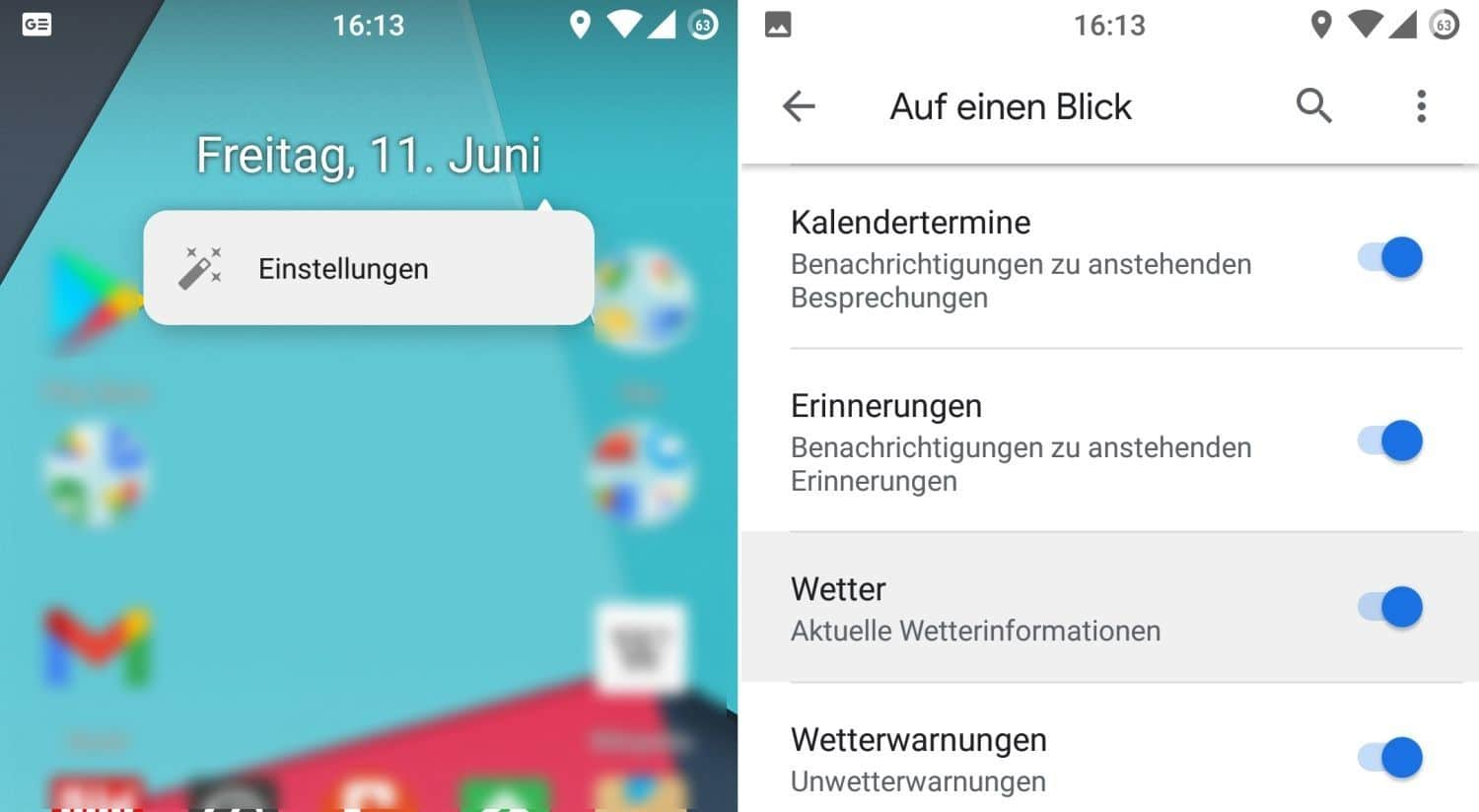 pixel launcher at a glance wetter