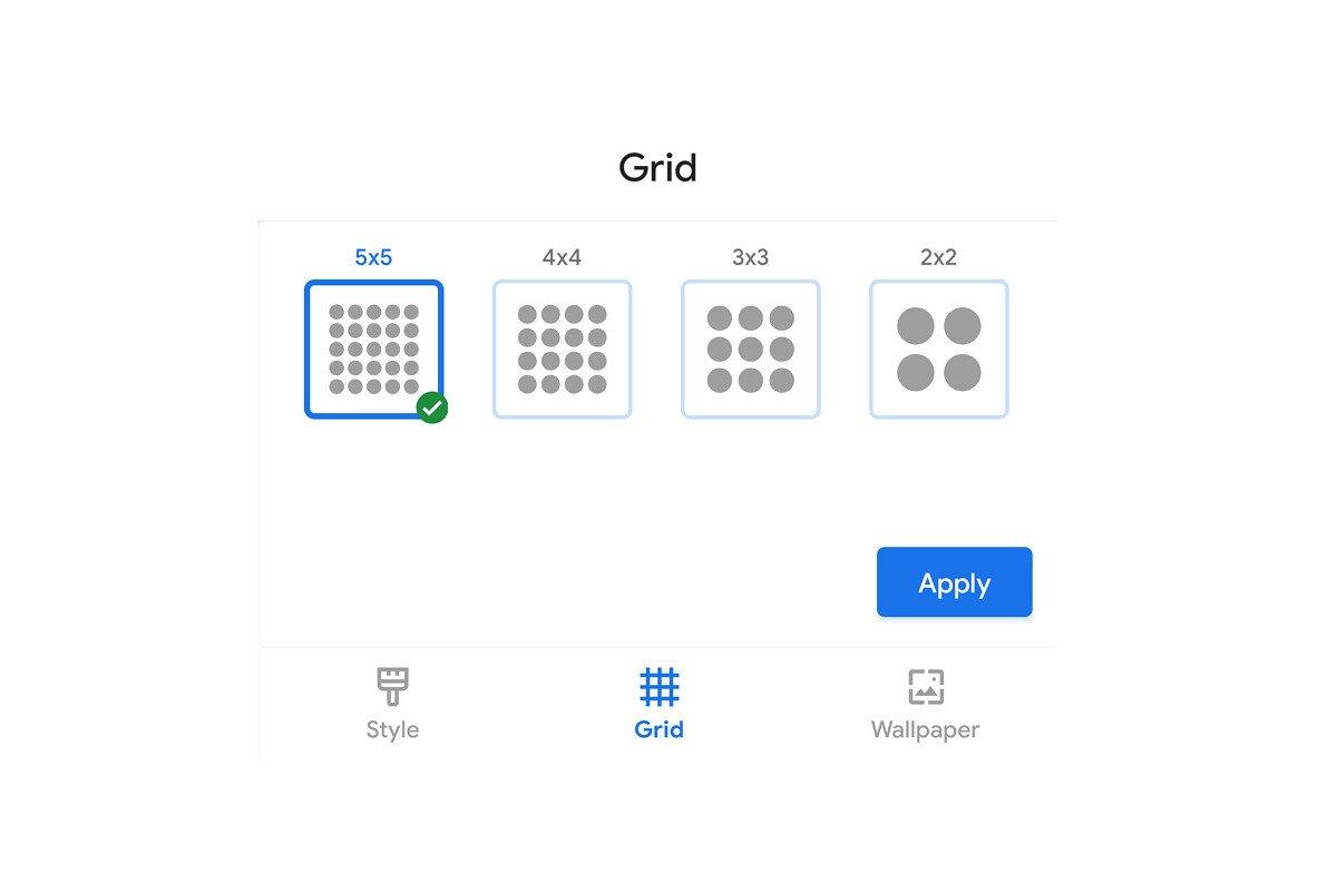 pixel launcher grid