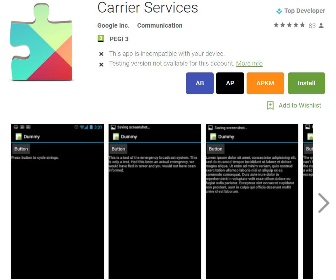 play store carrier services