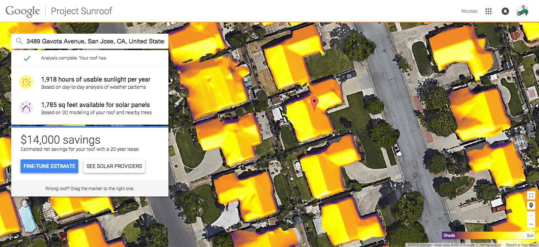 project sunroof neues google projekt kann die m gliche ersparnis durch solarpanele berechnen gwb. Black Bedroom Furniture Sets. Home Design Ideas