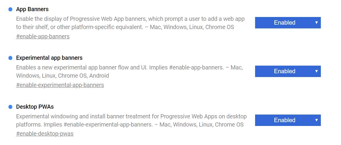 pwa chrome flags