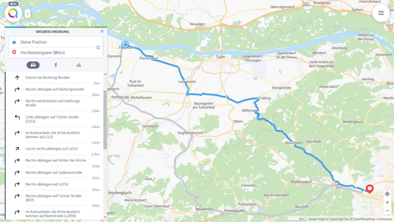 qwant maps navigation