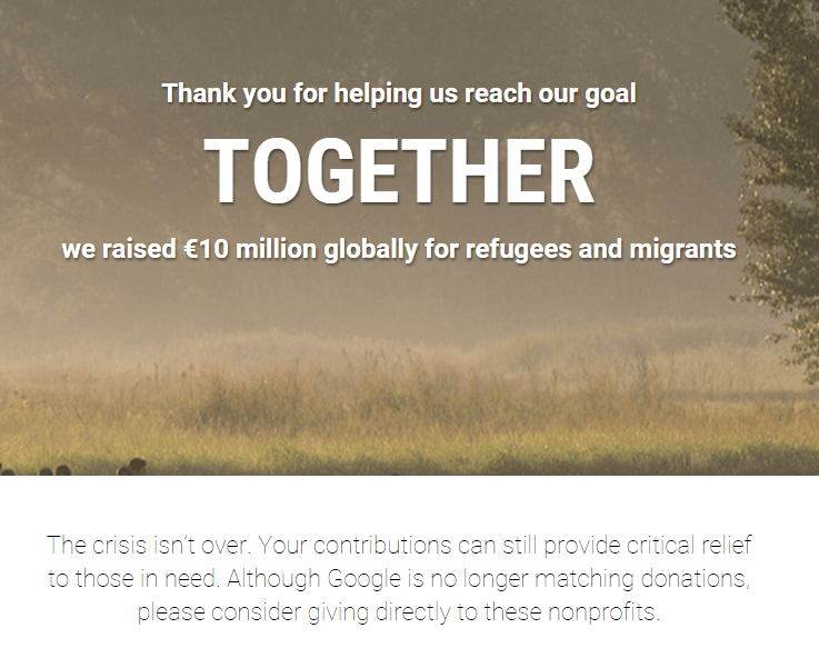 refugee donation finish