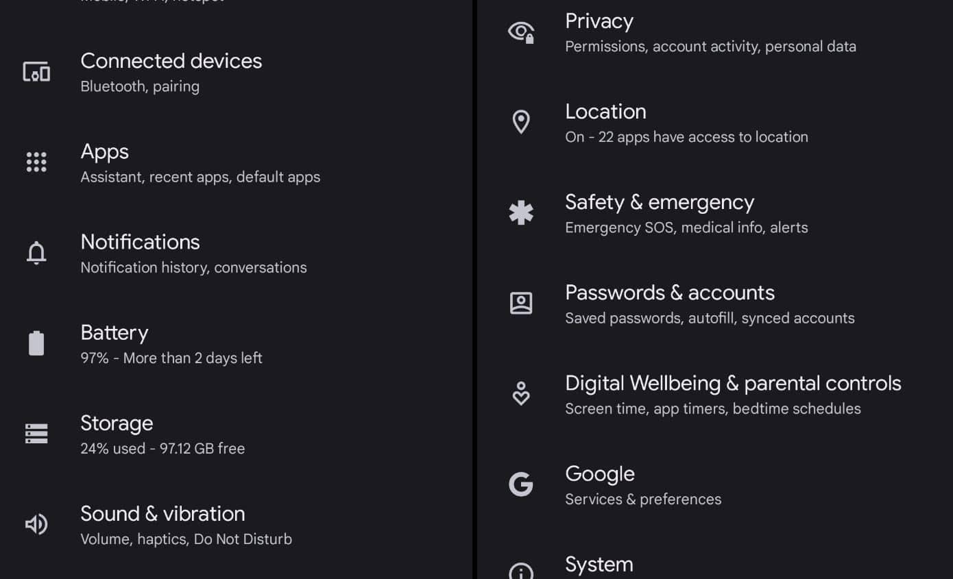 settings white icons