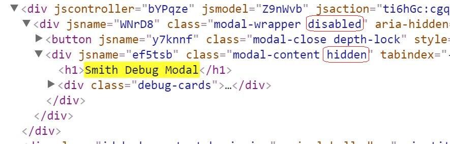 smith debug modal