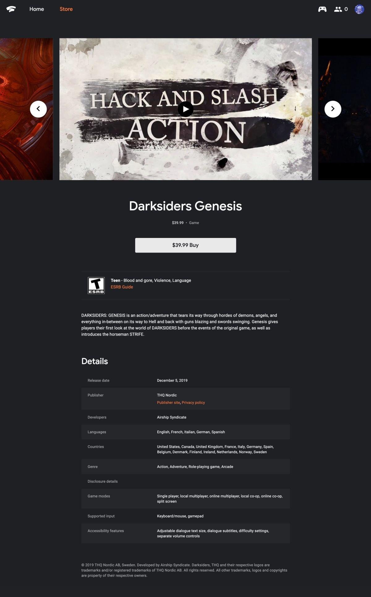 stadia web store detail screenshot