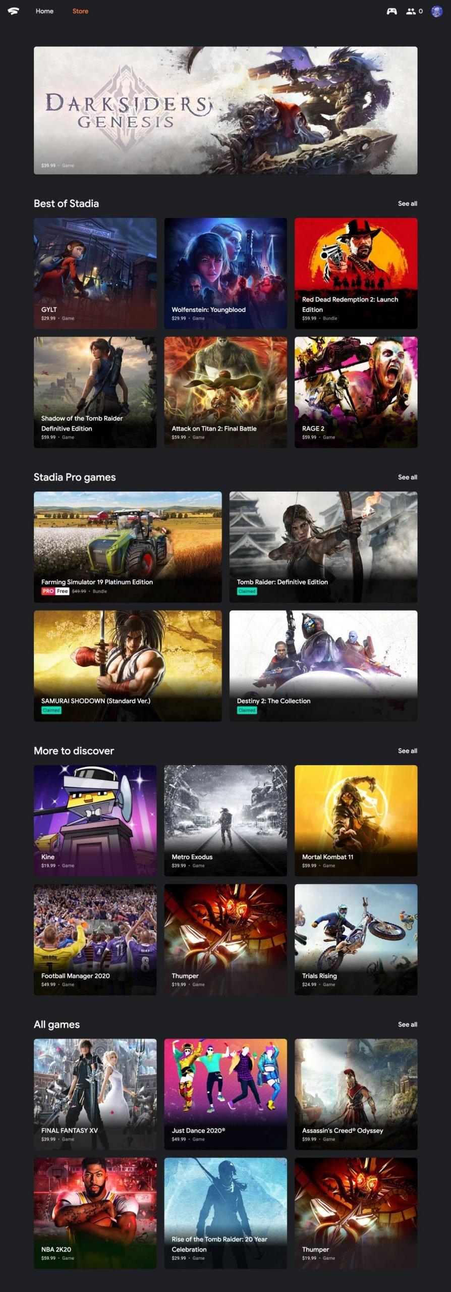 stadia web store screenshot