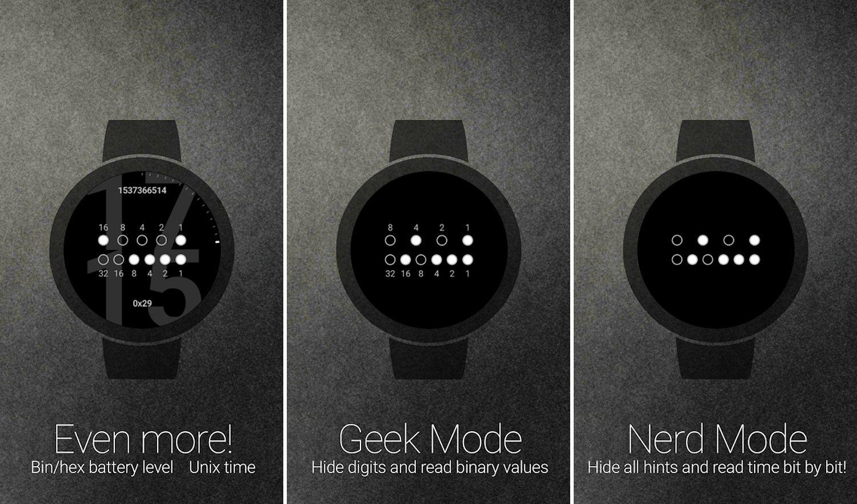 wear os binary watch face screenshots 2