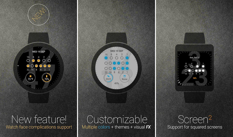 wear os binary watch face screenshots