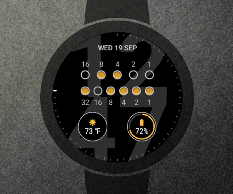 wear os binary watch face