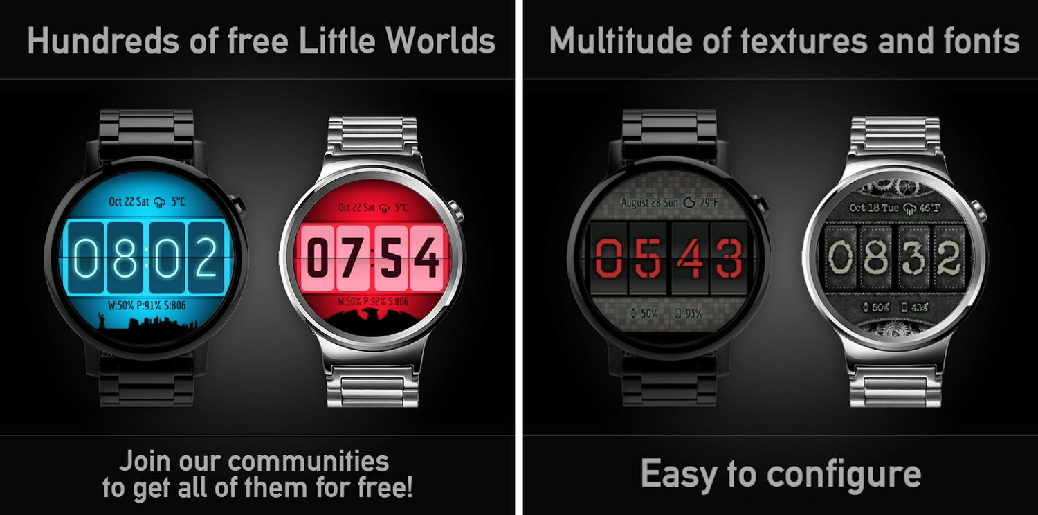 wear os watch face flip clock screenshots