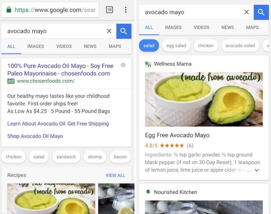 Google Websuche Rezepte