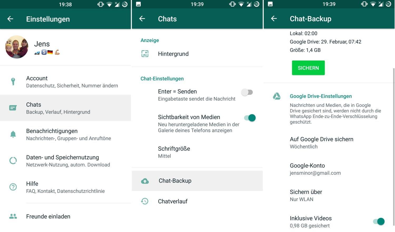 whatsapp chat backup google drive