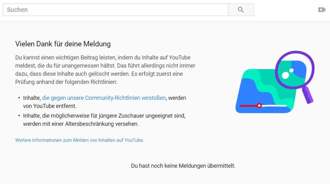 youtube meldeverlauf