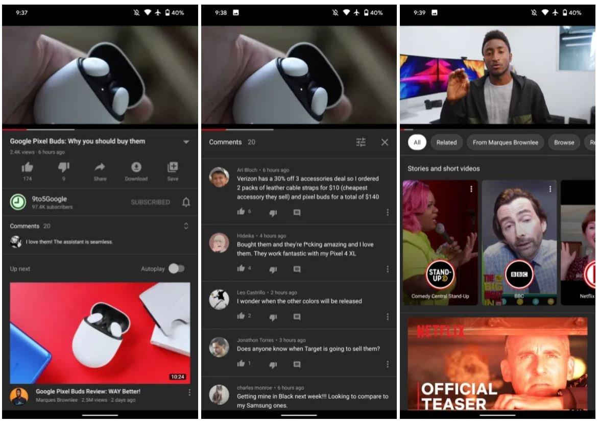youtube mobile design