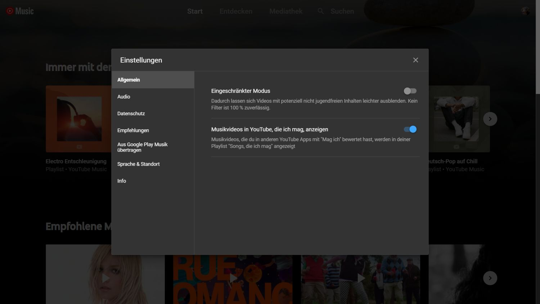 youtube music settings youtube