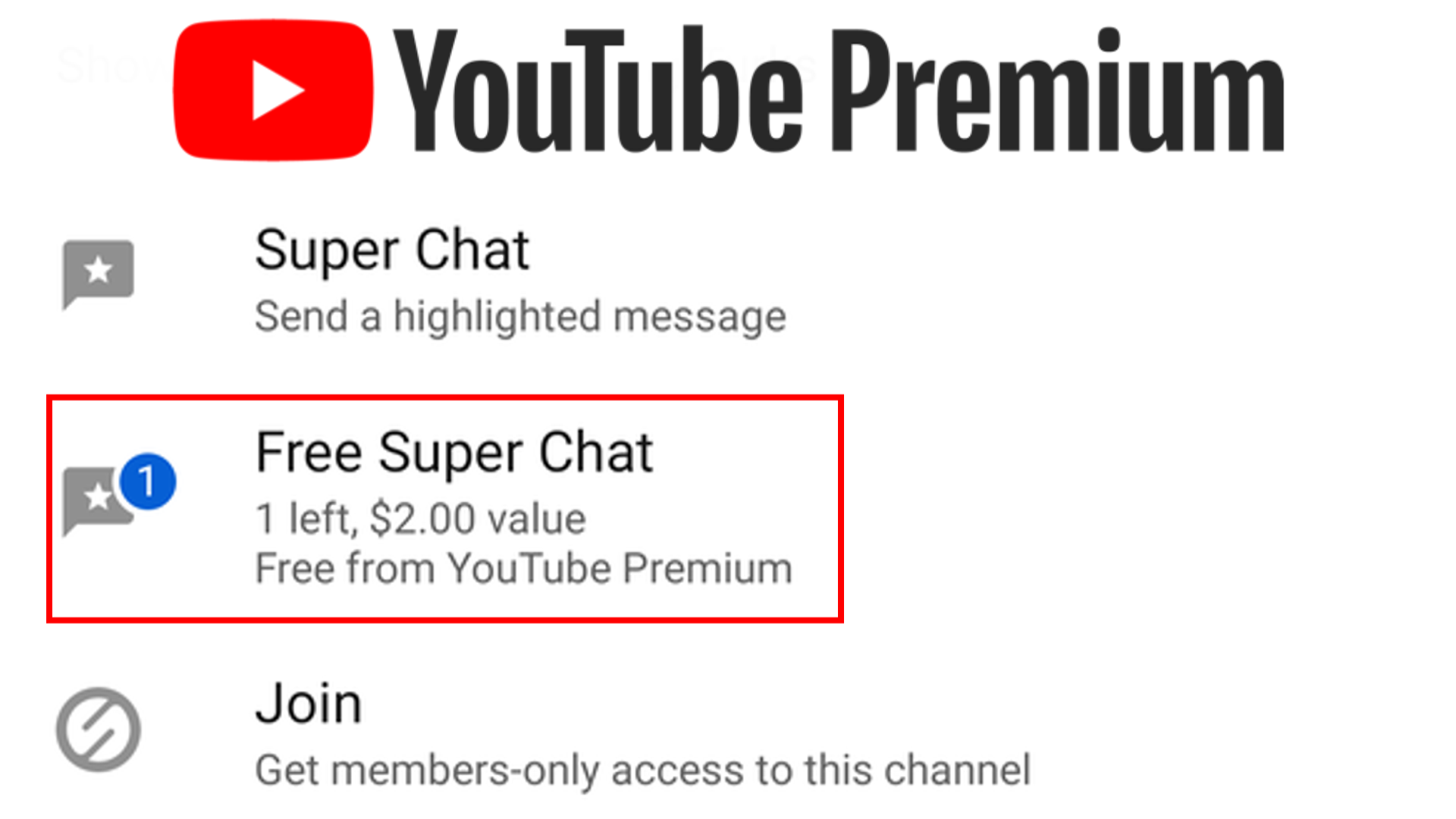 youtube premium super chat