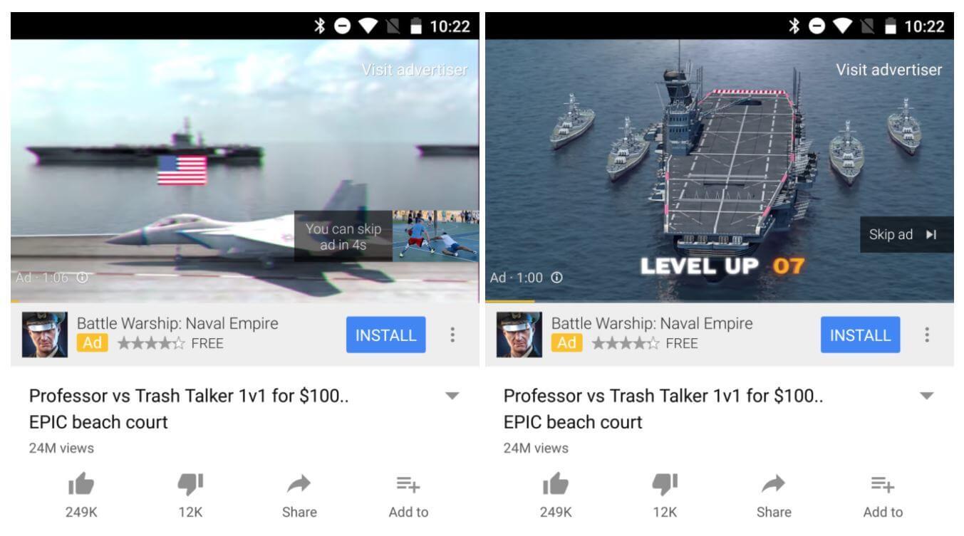 youtube swipe ad