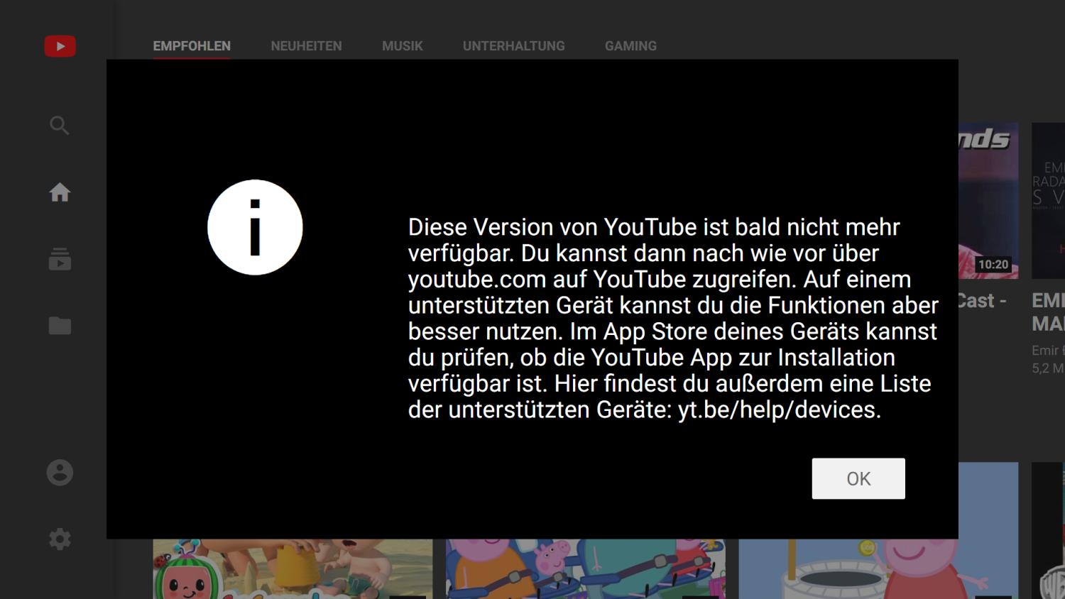 youtube tv leanback einstellung